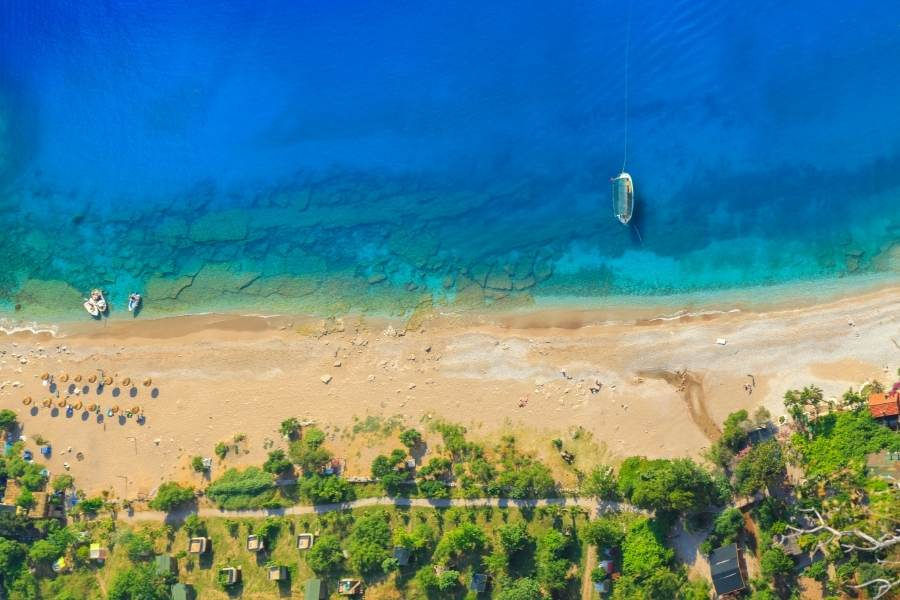 aerial view of butterfly valley in fethiye
